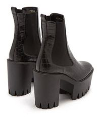 Stella McCartney Black Monster Crocodile-effect Faux-leather Ankle Boots