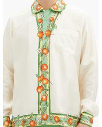 メンズ CASABLANCA オレンジ&ヴァイン シルクファイユシャツ Multicolor