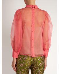 Gucci Multicolor Embellished Poppy-Rosette Silk-Organza Blouse