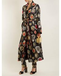 Dolce & Gabbana Black Heart-print Tie-waist Silk Robe