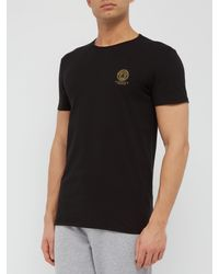 T-shirt en jersey de coton col ras du cou et logo Versace pour homme en coloris Black
