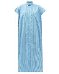 Balenciaga キャップスリーブ ストライプコットン シャツドレス Blue