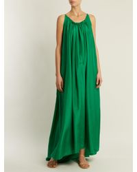 Loup Charmant Green Gather Scoop-back Silk-georgette Dress