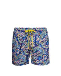 Etro Blue Paisley Print Swim Shorts for men