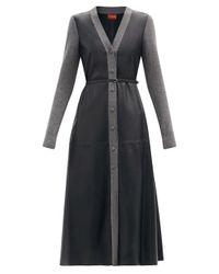 Altuzarra アリソン ウールトリム レザーシャツドレス Black