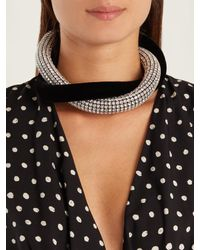 Saint Laurent - Black Twisted Crystal-embellished And Velvet Necklace - Lyst