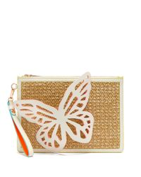 Sophia Webster Multicolor Flossy Butterfly Leather And Raffia Pouch