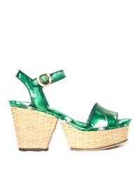 Dolce & Gabbana Green Banana Leaf-print Wicker Wedge Sandals