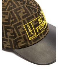 Casquette à visière en cuir et logo FF brodé Fendi pour homme en coloris Brown