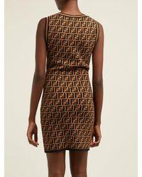 Fendi Brown Ff-jacquard Knitted Mini Dress
