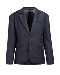 Martine Rose スモールチェック パデッド ウールジャケット Blue