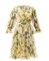 Dolce & Gabbana カメリア シルクシフォン ラップドレス Yellow
