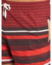 Danward Orange Square And Striped-print Swim Shorts for men