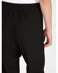Rick Owens Black Drawstring Waist Trousers for men