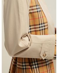 Burberry Natural Guisley Check Print Panelled Cotton Trench Coat