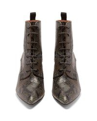 AlexaChung Gray Victorian Snakeskin-effect Leather Lace-up Boots
