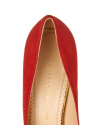 Charlotte Olympia - Red Dolly Suede Pumps - Lyst