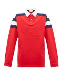 Gucci Red Long-sleeved Cotton Polo Shirt for men