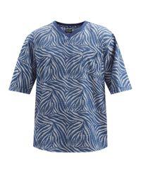 メンズ Giorgio Armani シャークスキンジャカード コットンシアサッカーtシャツ Blue
