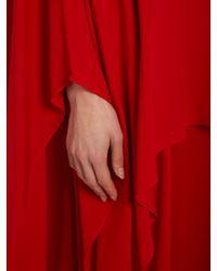 Valentino Red Detachable-cape Silk-crepe Dress