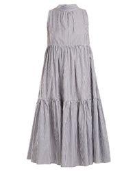 Asceno Black Neck Tie Striped Cotton Dress
