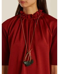 Marni - Metallic Crystal-embellished Leather Flower Necklace - Lyst