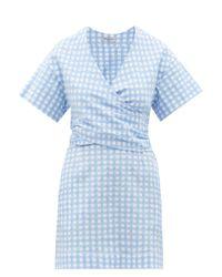 Three Graces London フローラ ギンガムコットンシアサッカードレス Blue