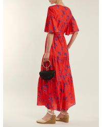 Borgo De Nor Printed Crepe De Chine Maxi Dress Red