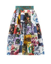 Dolce & Gabbana パッチワーク フローラル コットンブレンドスカート Blue