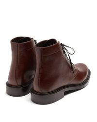 Saint Laurent Brown Army Leather Ankle Boots for men