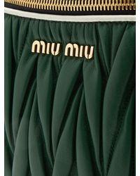 Miu Miu Black Contrast-panel Matelassé-leather Belt Bag