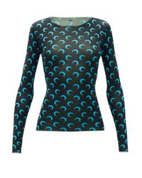 MARINE SERRE Blue Crescent Moon-print Stretch-jersey Top
