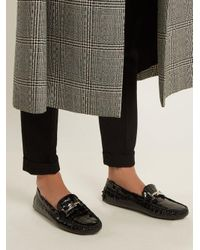 Tod's Black Gommino Shearling-lined T-bar Loafers