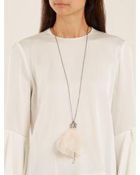 Lanvin - Pink Crystal-embellished Flower Necklace - Lyst