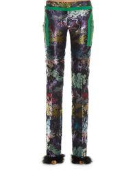 Marco De Vincenzo Black Slim-leg Jacquard Trousers