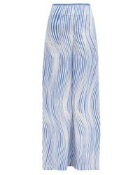 Le Sirenuse ステファン ウィンド コットンワイドパンツ Blue