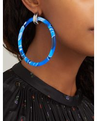 Grandes créoles bicolores Balenciaga en coloris Blue