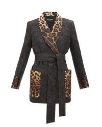 Dolce & Gabbana レオパード フローラルジャカード ジャケット Black