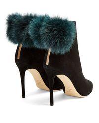 Jimmy Choo - Black Tesler 100mm Fox-fur Embellished Suede Ankle Boots - Lyst