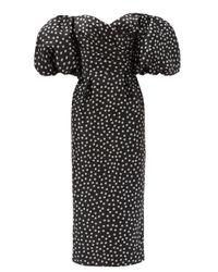 Rasario Black Off-the-shoulder Polka-dot Silk Midi Dress