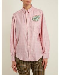 Toga - Red Point-collar Bead-embellished Checked Cotton Shirt - Lyst