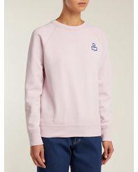 Étoile Isabel Marant Pink Milly Flocked Logo Cotton Blend Sweatshirt
