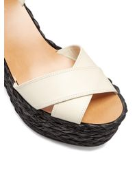 Valentino - Black Nuevitas Cross-strap Leather Wedge Sandals - Lyst