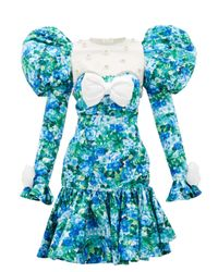 Richard Quinn Blue Puff-shoulder Crystal-trim Floral-print Dress