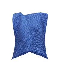 Pleats Please Issey Miyake Blue Asymmetric Neck Tech Pleated Top