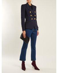 Balmain Blue Double-breasted Wool Blazer