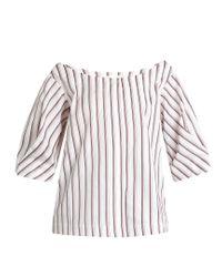 Isa Arfen White Bunting Stripe Button-down Cotton Top