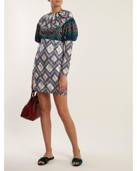 Emilia Wickstead Multicolor Lavinia Tapestry-print Gathered Crepe Mini Dress