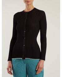 Proenza Schouler Black V Neck Ribbed Knit Cardigan