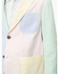 Thom Browne Multicolor Patchwork Striped Seersucker Blazer for men